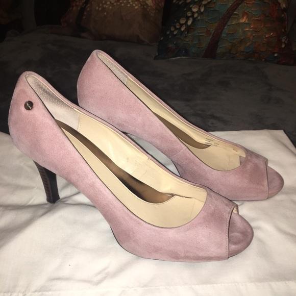 74e54c1a16 Calvin Klein Shoes   Light Pink Suede Open Toe Heel   Poshmark